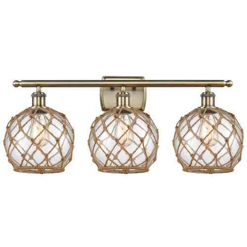 Innovations Lighting Innovations Lighting Farmhouse Rope Antique Brass Bathroom Light 516-3W-AB-G122-8RB