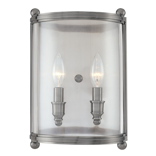 Hudson Valley Lighting Sconce Wall Light with Clear Glass in Antique Nickel Finish 1302-AN