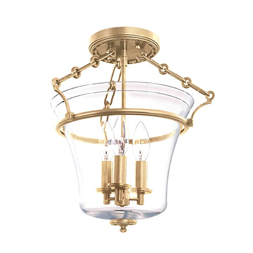 Hudson Valley Lighting Semi-Flushmount Light with Clear Glass in Aged Brass Finish 830-AGB