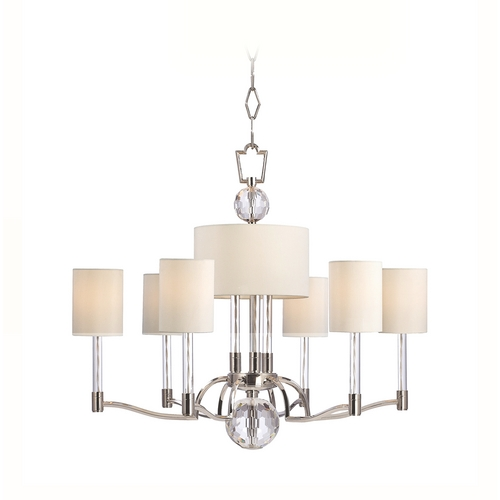 Hudson Valley Lighting Modern Chandelier with White Shades in Polished Nickel Finish 3006-PN