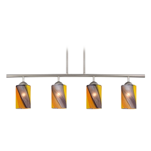 Design Classics Lighting Modern Island Light with Multi-Color Glass in Satin Nickel Finish 718-09 GL1015C