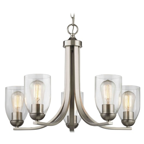Design Classics Lighting Satin Nickel Chandelier with Clear Dome Glass and 5-Lights 584-09 GL1040D