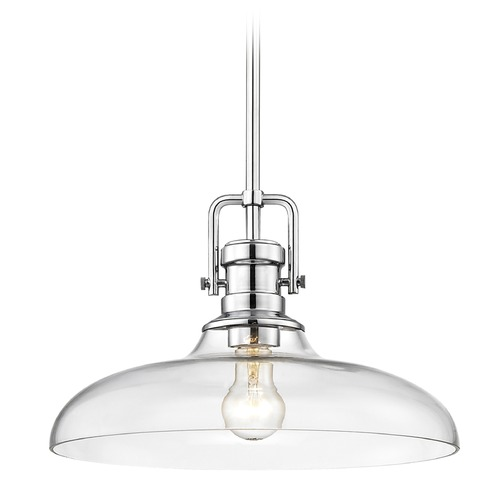 Design Classics Lighting Industrial Clear Glass Pendant Light Chrome 14-Inch Wide 1763-26 G1784-CL