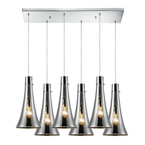 Elk Lighting Multi-Light Pendant Light with Mercury Glass and 6-Lights 60065-6RC