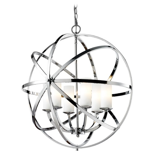Z-Lite Z-Lite Aranya Chrome Pendant Light with Cylindrical Shade 6017-6L-CH