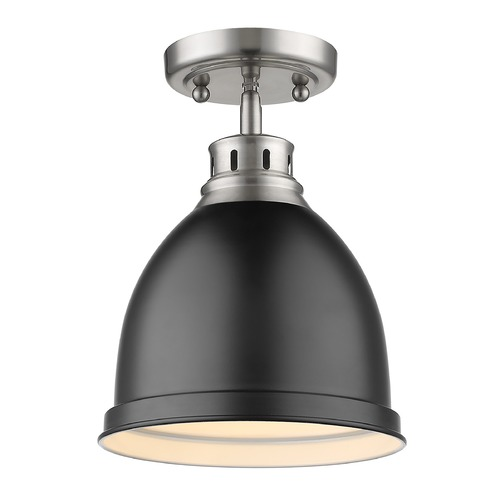 Golden Lighting Golden Lighting Duncan Pewter Semi-Flushmount Light with Matte Black Shade 3602-FMPW-BLK