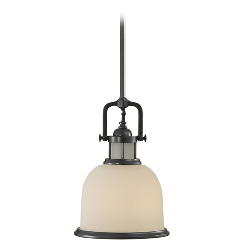 Feiss Lighting Mini-Pendant Light with White Glass P1144DBZ