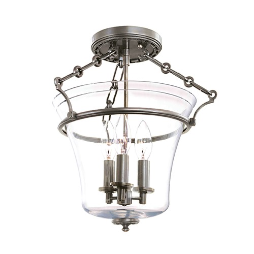 Hudson Valley Lighting Semi-Flushmount Light with Clear Glass in Historic Nickel Finish 830-HN
