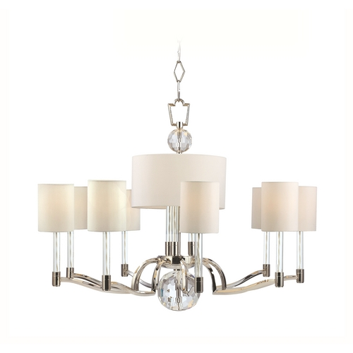 Hudson Valley Lighting Modern Chandelier with White Shades in Polished Nickel Finish 3009-PN