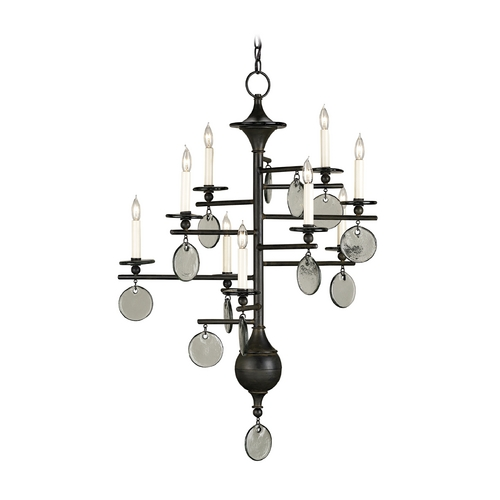 Currey and Company Lighting Modern Chandelier in Old Iron/recycled Glass Finish 9126