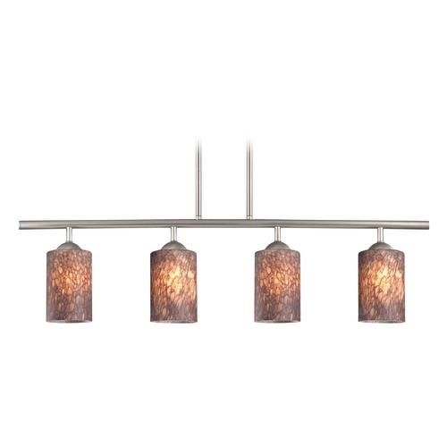Design Classics Lighting Modern Island Light with Brown Glass in Satin Nickel Finish 718-09 GL1016C