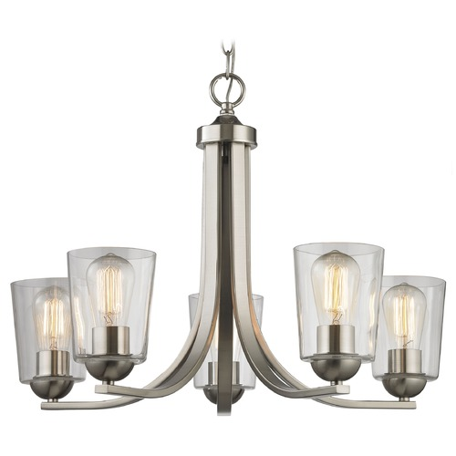 Design Classics Lighting Satin Nickel Chandelier with Clear Cylinder Glass and 5-Lights 584-09 GL1027-CLR