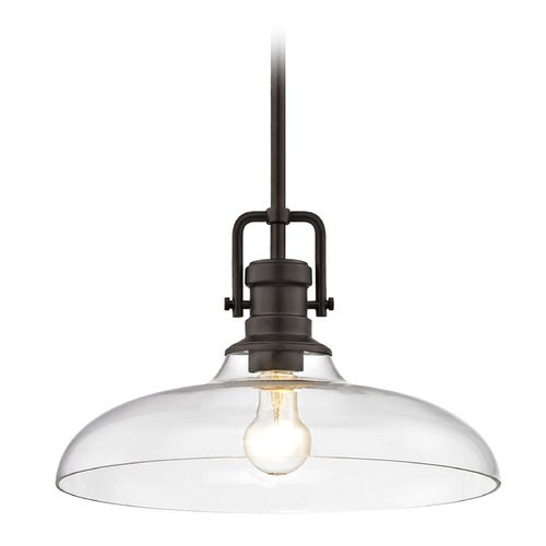 Design Classics Lighting Industrial Clear Glass Pendant Light Bronze Finish  14-Inch Wide 1763-220 G1784-CL