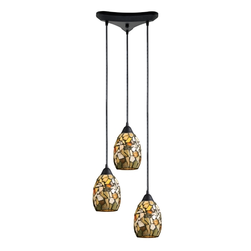Elk Lighting Multi-Light Pendant Light with Multi-Color Glass and 3-Lights 60018-3