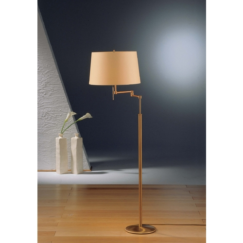 Holtkoetter Lighting Holtkoetter Modern Swing Arm Lamp with Beige / Cream Shades in Antique Brass Finish 2541 AB KPRG