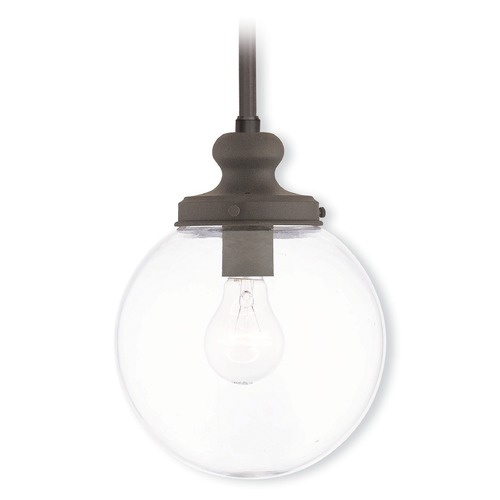 Livex Lighting Livex Lighting Sheffield Bronze Mini-Pendant Light with Globe Shade 50902-07