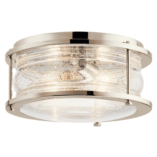 Kichler Lighting Ashland Bay Polished Nickel 2-Light Flushmount Light with Clear Seeded Ribbed Glass 42910PN