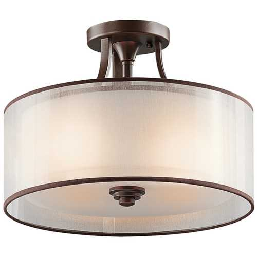 Kichler Lighting Kichler Semi-Flushmount Light with White Glass in Bronze Finish 42386MIZ