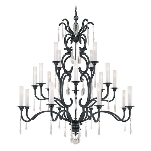 Metropolitan Lighting Crystal Chandelier with White Glass in Castellina Aged Iron Finish N6704-254