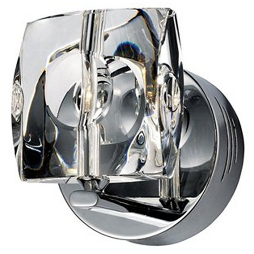 ET2 Lighting Modern Sconce Wall Light with White Glass in Polished Chrome Finish E30501-20