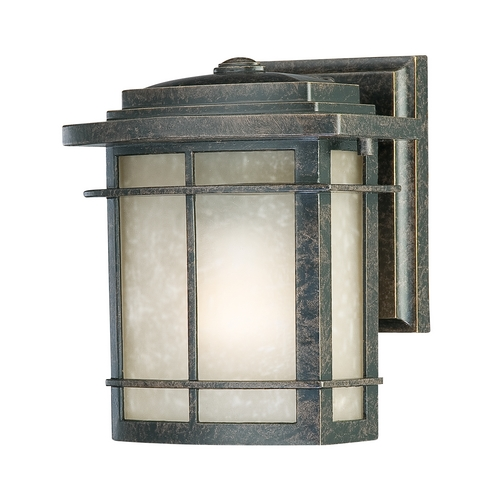 Quoizel Lighting Outdoor Wall Light with Amber Glass in Imperial Bronze Finish GLN8407IB