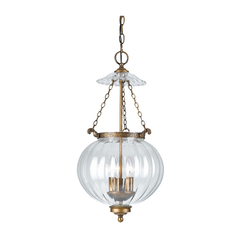 Crystorama Lighting Pendant Light with Clear Glass in Antique Brass Finish 5783-AB