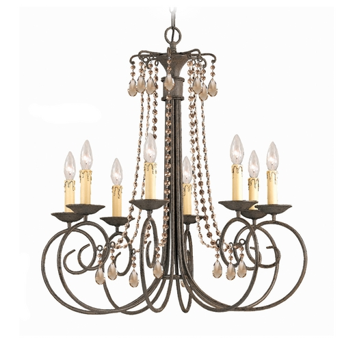 Crystorama Lighting Crystal Chandelier in Dark Rust Finish 5208-DR-GTS