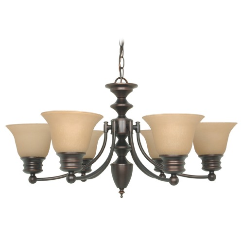 Nuvo Lighting Chandelier with Beige / Cream Glass in Mahogany Bronze Finish 60/1274