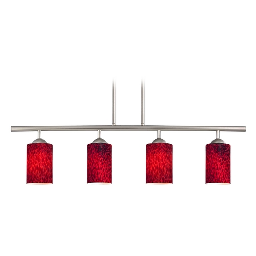 Design Classics Lighting Modern Island Light with Red Glass in Satin Nickel Finish 718-09 GL1018C