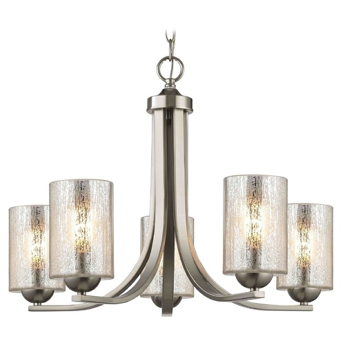 Design Classics Lighting Satin Nickel Chandelier with Mercury Cylinder Glass and 5-Lights 584-09 GL1039C