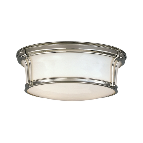 Hudson Valley Lighting Flushmount Light with White Glass in Polished Nickel Finish 6513-PN