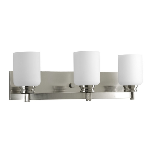 Progress Lighting Progress Bathroom Light with White Glass in Brushed Nickel Finish P3058-09