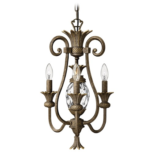 Hinkley Lighting Mini-Chandelier with Clear Glass in Pearl Bronze Finish 4103PZ