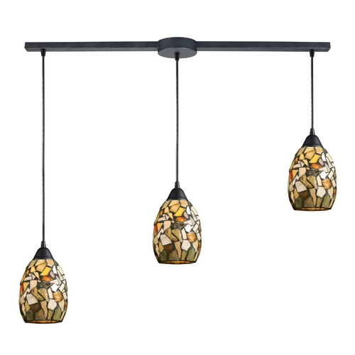 Elk Lighting Multi-Light Pendant Light with Multi-Color Glass and 3-Lights 60018-3L