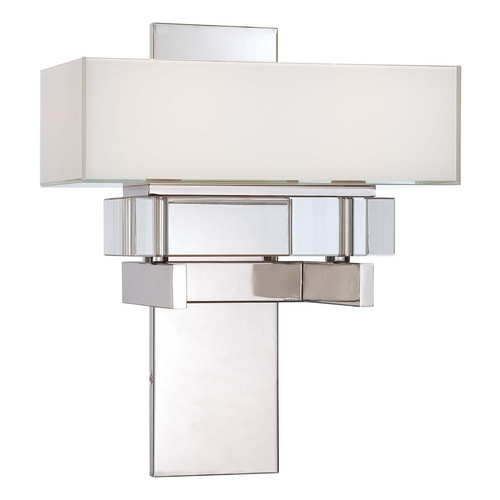 Metropolitan Lighting Sconce Wall Light with White Rectangle Shade in Polished Nickel N6260-613