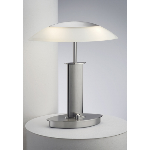 Holtkoetter Lighting Holtkoetter Modern Table Lamp with Beige / Cream Glass in Polished Nickel/satin Nickel Finish 6244 PNSN CHA