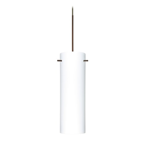 Besa Lighting Besa Lighting Copa Bronze Mini-Pendant Light with Cylindrical Shade 1XT-493007-BR