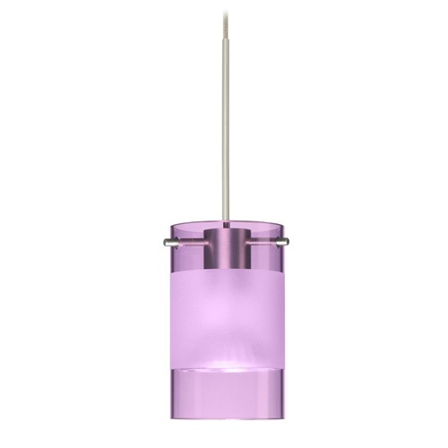 Besa Lighting Besa Lighting Scope Satin Nickel LED Mini-Pendant Light with Cylindrical Shade 1XT-6524EA-LED-SN