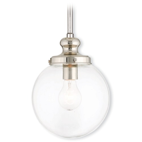 Livex Lighting Livex Lighting Sheffield Polished Nickel Mini-Pendant Light with Globe Shade 50902-35