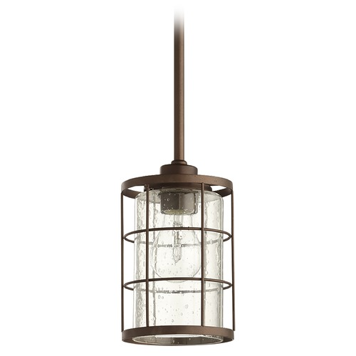 Quorum Lighting Quorum Lighting Ellis Oiled Bronze Mini-Pendant Light with Cylindrical Shade 3364-86