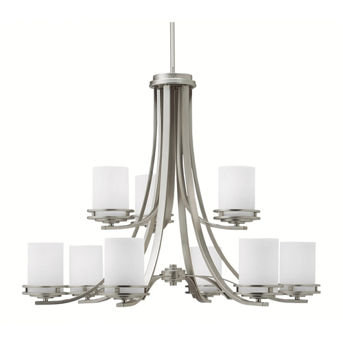 Kichler Lighting Kichler Modern Chandelier with White Glass in Brushed Nickel Finish 1674NI
