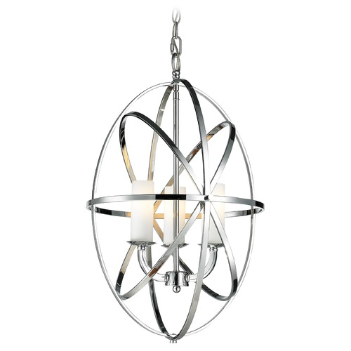 Z-Lite Z-Lite Aranya Chrome Pendant Light with Cylindrical Shade 6027-3S-CH