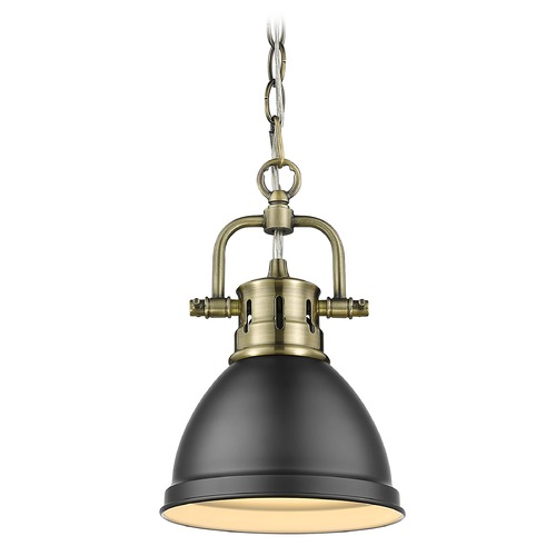 Golden Lighting Golden Lighting Duncan Aged Brass Mini-Pendant Light with Matte Black Shade 3602-M1LAB-BLK