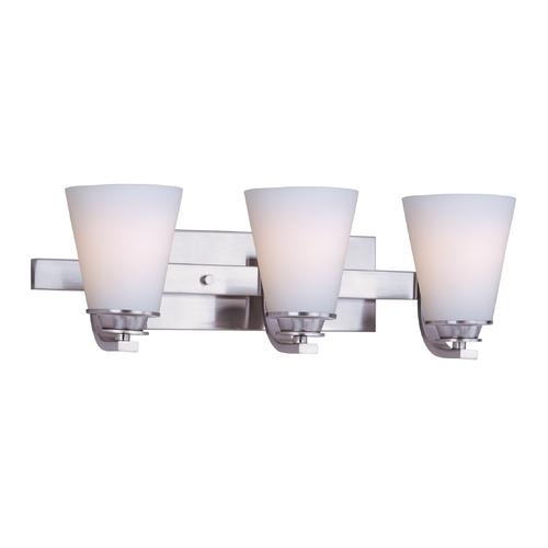 Maxim Lighting Bathroom Light with White Glass in Satin Nickel Finish 9013SWSN