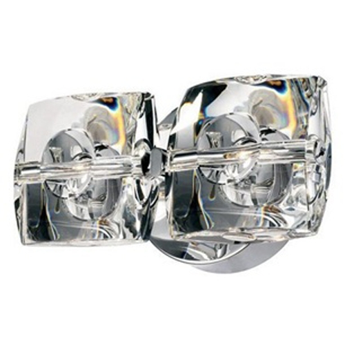 ET2 Lighting Modern Sconce Wall Light with White Glass in Polished Chrome Finish E30502-20