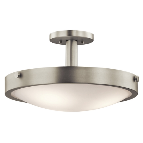 Kichler Lighting Kichler Brushed Nickel Semi-Flushmount Light with White Glass 42245NI
