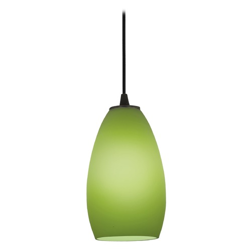 Access Lighting Modern Mini-Pendant Light with Green Glass 28012-2C-ORB/LGR