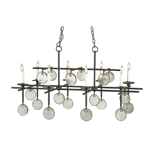 Currey and Company Lighting Chandelier in Old Iron/recycled Glass Finish 9124