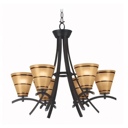 Kenroy Home Lighting Chandelier with Amber Glass in Oil Rubbed Bronze Finish 90086ORB