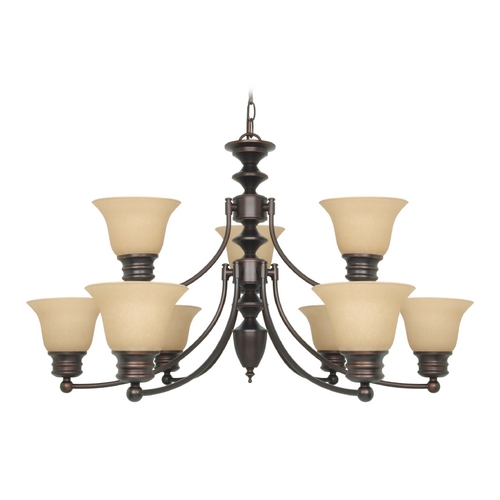 Nuvo Lighting Chandelier with Beige / Cream Glass in Mahogany Bronze Finish 60/1275